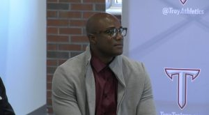 Demarcus Ware returns to TROY to announce new partnership with university.