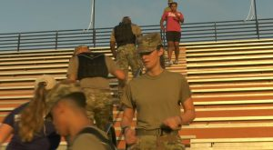 Troy University Air Force ROTC, first responders participate in 9/11 Stadium Climb at Riddle-Pace Field.
