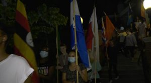 Troy University students participate in walk for International Peace Day.