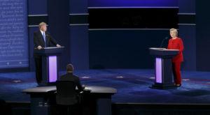 Presidential candidates Donald Trump and Hillary Clinton during Monday night's debate. (Jonathan Heisler/Hofstra University)