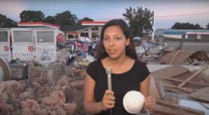 TrojanVision reporter Rachael Wilkerson reporting on flood relief efforts in Baton Rouge.