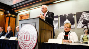 Dr. Jack Hawkins, Jr., Chancellor of Troy University, speaks during Alabama Community College System's statewide reverse transfer signing ceremony.