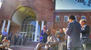A new statue honoring former Chancellor Dr. Ralph Adams was unveiled on Friday at the Troy Campus.