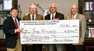 The Choctawhatchee, Pea and Yellow Rivers Watershed Management Authority presented Troy University a $5,000 grant.