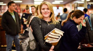 Griffin Capps, a junior English major from Troy, in the bookstore as Spring Semester gets under way on the Troy Campus.