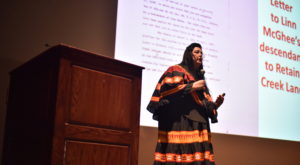 Dr. Deidra Suwanee Dees, tribal archivist for the Poarch Band of Creek Indians, speaks during the annual McPherson-Mitchell Lecture.