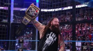 Former Trojan football player Bray Wyatt became the WWE Champion at a Sunday night pay-per-view event. (Credit: @WWEAustralia)