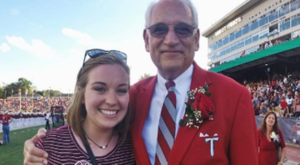 TROY senior Caitlin Smith with Chancellor Hawkins.