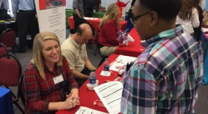 About 30 local employers met with students during the annual Valentine's Day Career Fair at TROY's Dothan Campus.