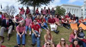 Troy University students at the Alabama State Capitol in Montgomery during the Higher Education Day Rally.