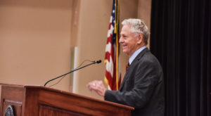 Morris Dees, co-founder and chief trial counsel of the Southern Poverty Law Center, spoke during the Hall School of Journalism's annual symposium.