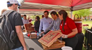 Students were treated to pizza on the Bibb Graves Quad on the Troy Campus during the 2016 Student Appreciation Day.
