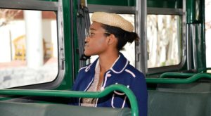 Adira Burton, a sophomore theatre major from Gautier, Miss., portrays Rosa Parks for events at the Rosa Parks Museum.