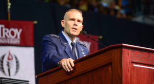 Lt. Gen. Steven Kwast addresses graduates during Friday's Spring Commencement ceremony on the Troy Campus.