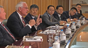 Troy University Chancellor Dr. Jack Hawkins, Jr., speaks during a meeting at Hanban, the global headquarters for the worldwide Confucius Institutes.