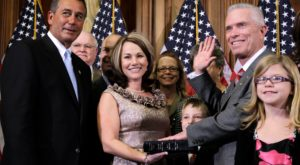 U.S. Rep. Bill Johnson, right, taking the oath of office in 2011. Johnson, a TROY alum, will receive the University's Distinguished Leadership Award.