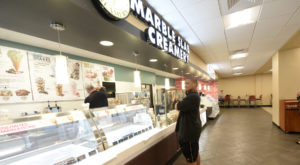 TROY sophomore Justice Valrie was one of many students exploring the new options at the Trojan Center, such as Marble Slab Creamery, on Wednesday.