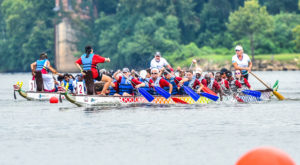 The TROY Trojan Warriors compete in the Montgomery Dragon Boat Races.