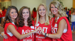 Troy University's chapter of Alpha Omicron Pi welcomed charter members during a Bid Day celebration Sept. 16.