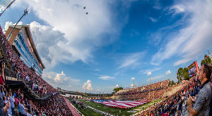 Two F-16 fighter jets from the 187th Fighter Wing of the Alabama Air National Guard fly over Veterans Memorial Stadium. (TROY photo/Mark Mosely)