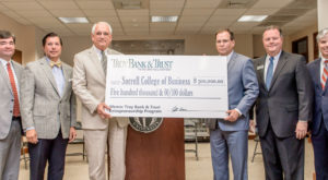 Troy University officials today accepted a $500,000 donation from Troy Bank and Trust to fund the creation of a new entrepreneurship program.
