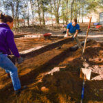 Service learning students help create an outdoor learning area at Troy Elementary School. (TROY photo/Clif Lusk)