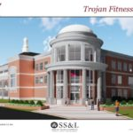 Rendering of the front of the Trojan Fitness Center.