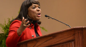 U.S. Rep. Terri Sewell addressed the 2018 Leadership Conference Celebrating African American History Month at Troy University on Saturday.