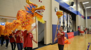 Students and staff from the Confucius Institute at Troy University perform the Dragon Dance for Pike Road Elementary School students.