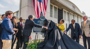 City and University officials joined dignitaries to unveil a historical marker at the Tuskegee Army Air Field Hangar located in Troy.