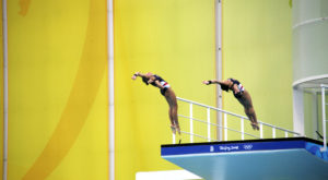 A pair of Team USA divers competing in the 2008 Summer Olympics in Beijing. (Photo courtesy Wikimedia Commons)