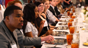 A group of 45 students and five Chancellor's Fellows took part in an etiquette class hosted by TROY First Lady Janice Hawkins.
