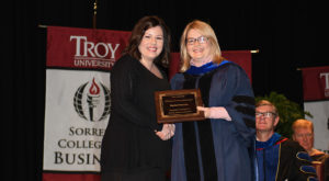 Fournier receives Faculty Senate Excellence Award at Troy University