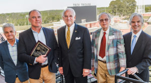 Kirk Curnutt, honoree Ace Atkins, Chancellor Jack Hawkins, Jr., Gregg Swem and Walter Givhan are shown following Hall-Waters Prize ceremony.