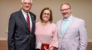 Annie Percy, English as a Second Language instructor/special programs coordinator, received the Vergil Parks McKinley Award on Wednesday.