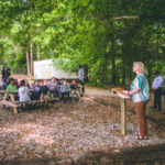 Troy Elementary School Principal Teresa Sims speaks at the unveiling of a new outdoor classroom.