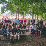 Troy Elementary students, Troy University officials and students, and City of Troy representatives pose at the new outdoor classroom at Troy Elementary School on Tuesday, April 24.