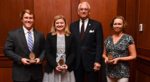 Students Sam Moody and Sarah Grace Stone and staff member Rhonda Taylor received Algernon Sydney Sullivan Awards on Monday.