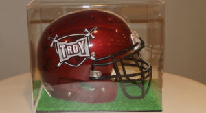 The Troy University Alumni Chapter of Kappa Alpha Psi Fraternity are offering raffle tickets for a chance to win this helmet signed by Demarcus Ware.