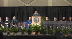 Jacqueline Screws, president of Chattahoochee Valley Community College, delivers the keynote address at Friday's spring commencement ceremony.