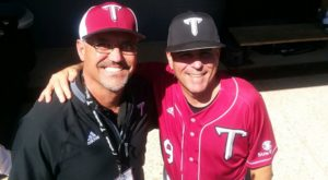 Keith Baker, left, and Troy University Baseball Coach Mark Smartt. Baker and Smartt were teammates on the 87' national championship team.