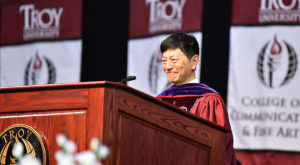 Japan's Atlanta Consulate-General Takashi Shinozuka delivers the keynote address during Friday's summer commencement ceremony on the Troy Campus.