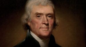 Thomas Jefferson, in an official portrait as President of the United States by Rembrandt Peale.