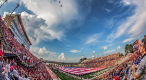 A giant American Flag and a flyover by a C-130 Hercules from the 908th Airlift Wing at Maxwell Air Force Base will highlight pre-game festivities.