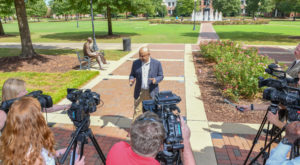 Dr. Govind Menon, director of the School of Science and Technology, discusses National Institute of Standards and Technology grant with media.