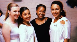 TROY dance students Carly Smith, Maya Jaramillo, Maliya Harris and Caitlynn Quintela pose backstage at the Davis Theatre in Montgomery.