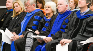 Dr. Cherie Fretwell, fourth from left in this photo from a 2016 honors convocation, died on Wednesday at her home in Auburn. (TROY photo)