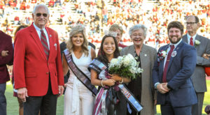 From left are: Dr. Jack Hawkins, Jr., Chancellor; Amy Russo, 2017 Homecoming queen; Beyler; Gov. Kay Ivey; and SGA President Gus McKenzie.