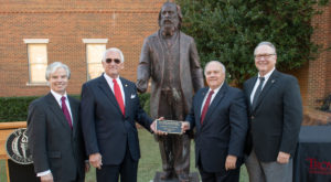 The statue of chemist Dmitri Mendeleev was placed in front of Malone Hall in Dothan.