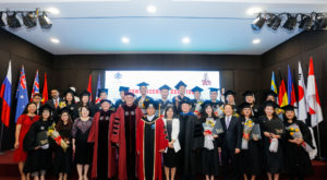 Sen. Gerald Dial, President Pro-Tem of the TROY Board of Trustees, delivered remarks to TROY graduates at three commencement ceremonies in Vietnam.